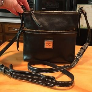 D&B Black Pebble Leather Leather Carrier Crossbody